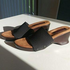 Black Lexees Mules, Size 8, Comfy Stretch Slide